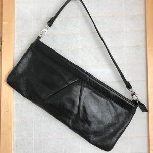 large HOBO black leather ziptop clutch wristlet